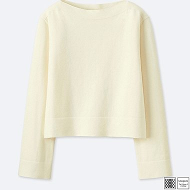 99cd3133eb WOMEN U COTTON CASHMERE BOAT NECK CROPPED SWEATER