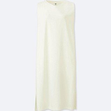 WOMEN JERSEY SLEEVELESS DRESS, OFF WHITE, medium