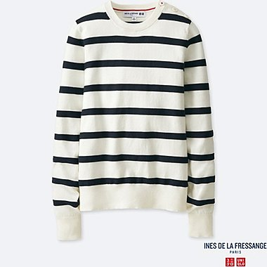 WOMEN INES 100% SUPIMA COTTON STRIPED SWEATER