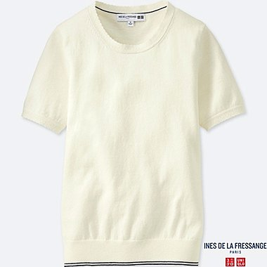 WOMEN INES COTTON CASHMERE CREW NECK SHORT SLEEVE SWEATER