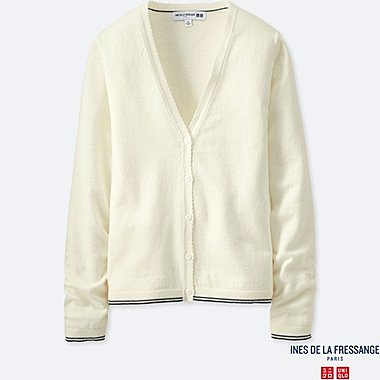 WOMEN INES COTTON CASHMERE V NECK CARDIGAN