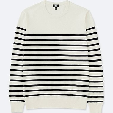 MEN STRIPED CREW NECK LONG SLEEVE SWEATER (washable)