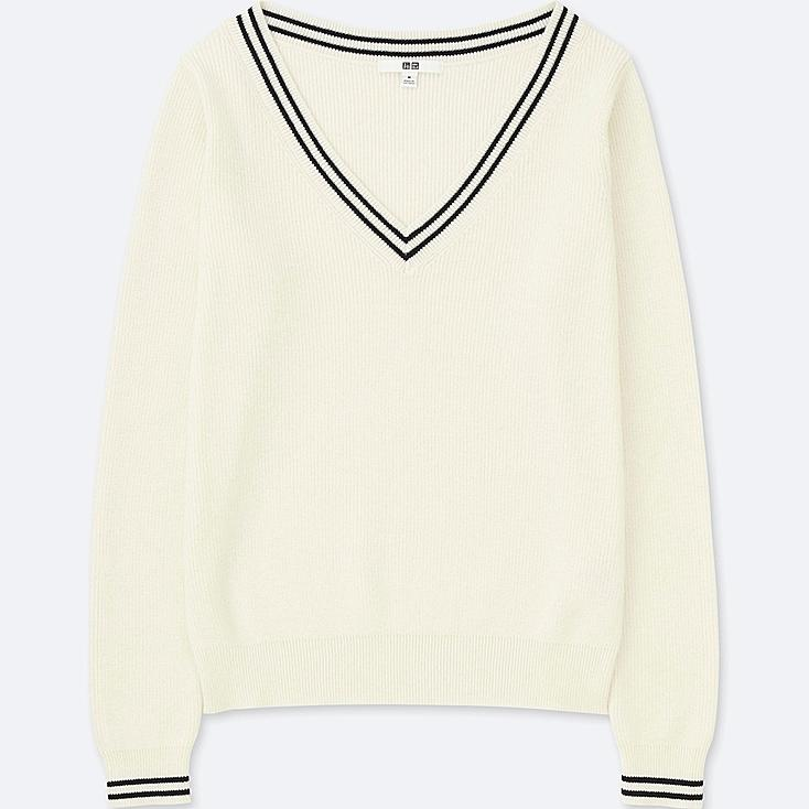 WOMEN COTTON CASHMERE MIDDLE GAUGE CRICKET SWEATER, OFF WHITE, large
