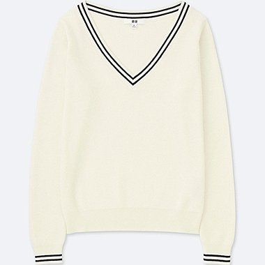 WOMEN COTTON CASHMERE MIDDLE GAUGE CRICKET SWEATER, OFF WHITE, medium