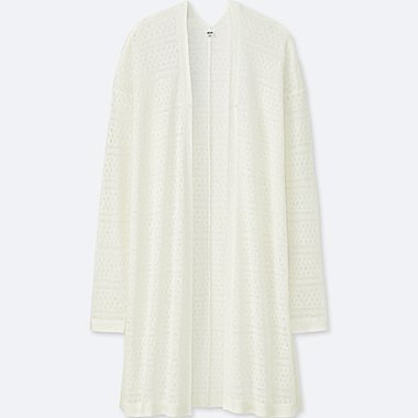 WOMEN LINEN BLEND LACY CARDIGAN, OFF WHITE, medium
