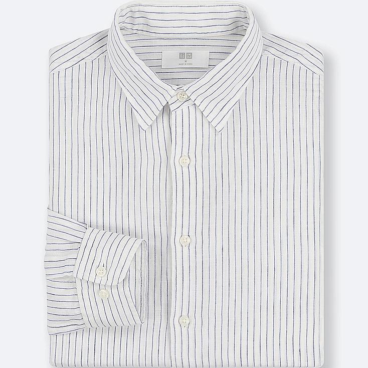 Herren 100% Premium Leinen Hemd (Gestreift) by Uniqlo