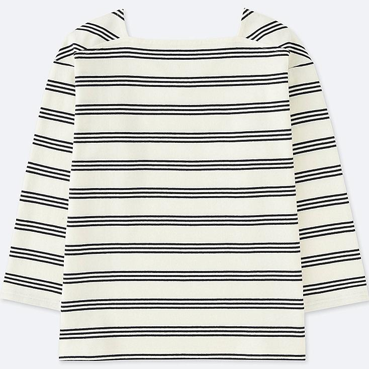 WOMEN 2-WAY STRIPED LONG-SLEEVE T-SHIRT, OFF WHITE, large