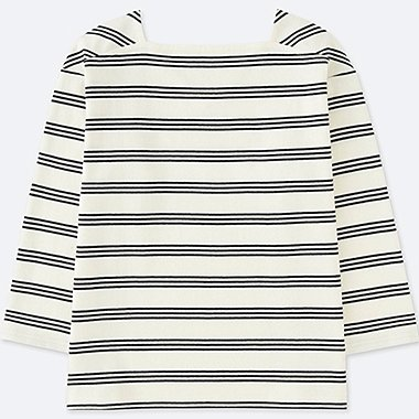 WOMEN 2 WAY STRIPED LONG SLEEVE T-SHIRT