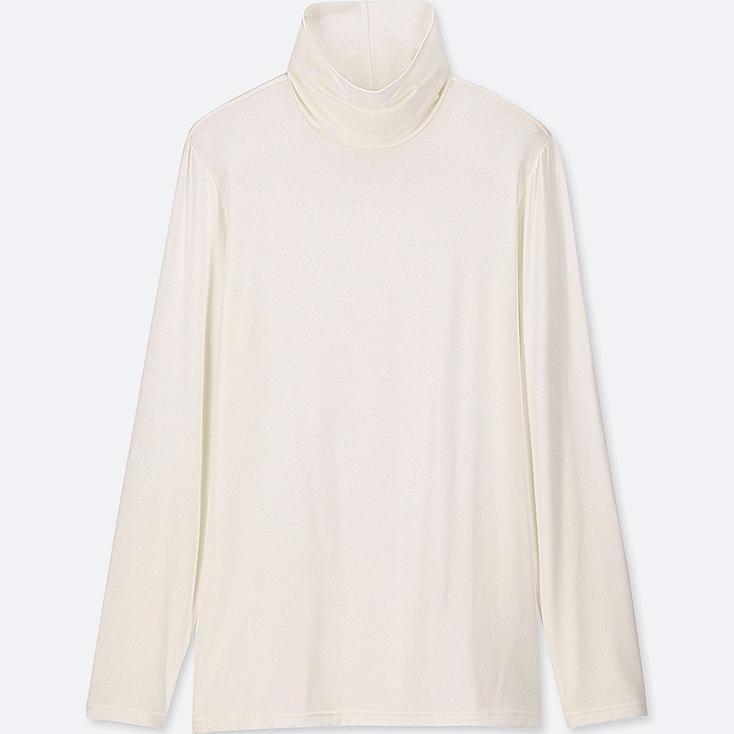 WOMEN HEATTECH TURTLENECK LONG-SLEEVE T-SHIRT, OFF WHITE, large
