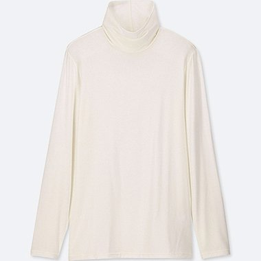 WOMEN HEATTECH TURTLENECK LONG-SLEEVE T-SHIRT, OFF WHITE, medium