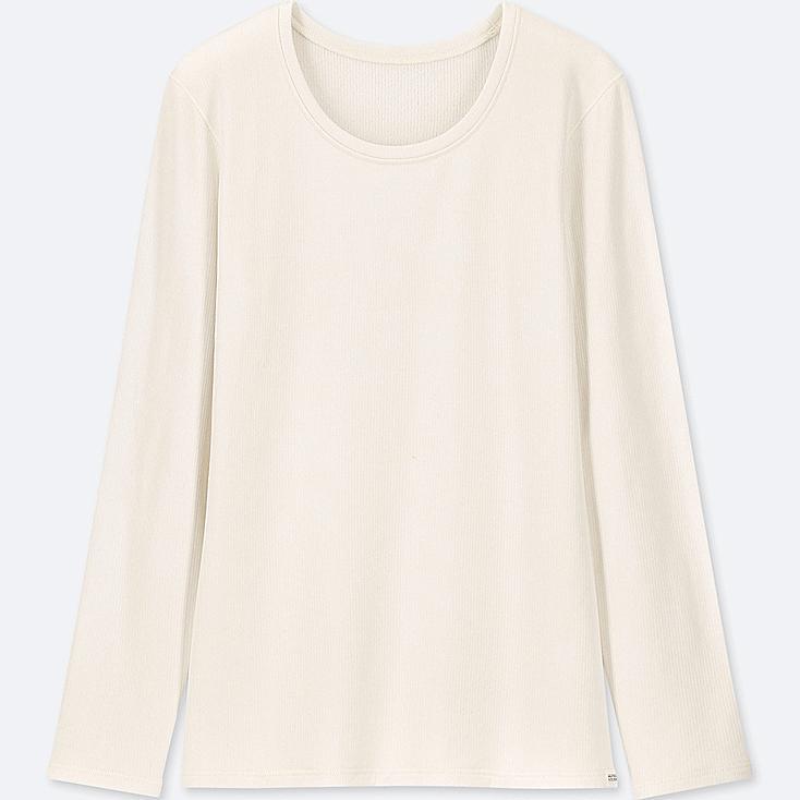 WOMEN HEATTECH ULTRA WARM CREW NECK T-SHIRT, OFF WHITE, large