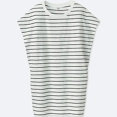 WOMEN SLUB striped 100% COTTON SHORT SLEEVE TUNIC