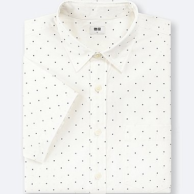 MEN BROADCLOTH PRINTED SHORT-SLEEVE SHIRT, OFF WHITE, medium