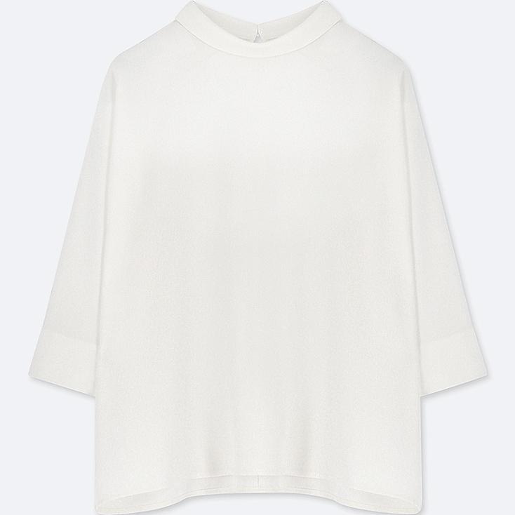WOMEN DRAPE MOCK NECK 3/4 SLEEVE BLOUSE, OFF WHITE, large