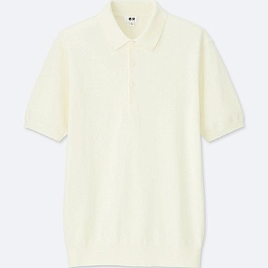 MEN WASHABLE KNITTED SHORT-SLEEVE POLO SHIRT, OFF WHITE, medium