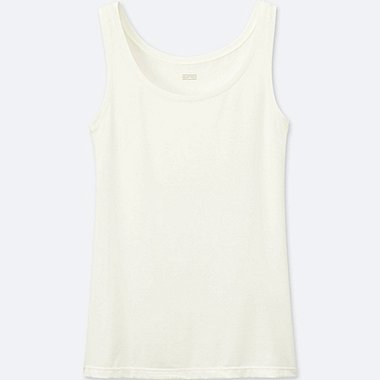 WOMEN HEATTECH SLEEVELESS TOP (ONLINE EXCLUSIVE), OFF WHITE, medium