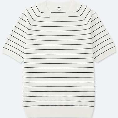 MEN COTTON WASHABLE STRIPED CREW NECK SHORT SLEEVE SWEATER