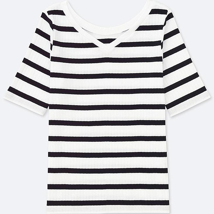 WOMEN 2-WAY RIBBED STRIPED HALF-SLEEVE T-SHIRT | Tuggl
