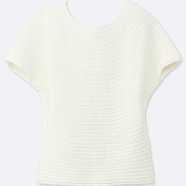 WOMEN 100% COTTON 3D Cotton Boat Neck  Short Sleeve Sweater