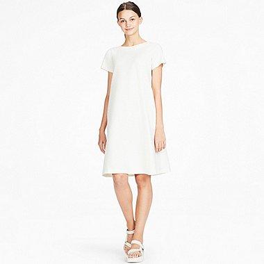 WOMEN JACQUARD SHORT-SLEEVE DRESS, OFF WHITE, medium