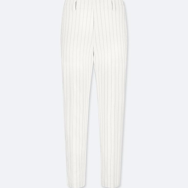 WOMEN EZY SATIN ANKLE PANTS, OFF WHITE, large