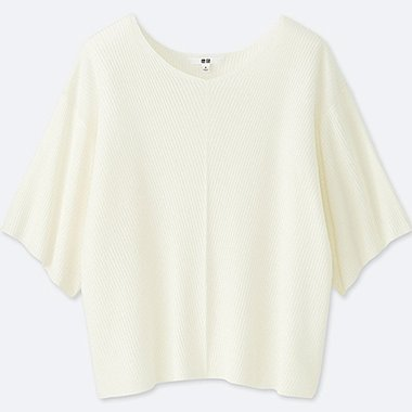 WOMEN RIBBED 3/4 SLEEVED DOLMAN JUMPER