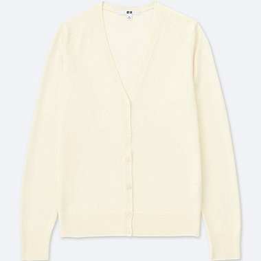 WOMEN EXTRA FINE MERINO V-NECK CARDIGAN, OFF WHITE, medium