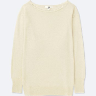 WOMEN EXTRA FINE MERINO BOXY BOAT NECK SWEATER