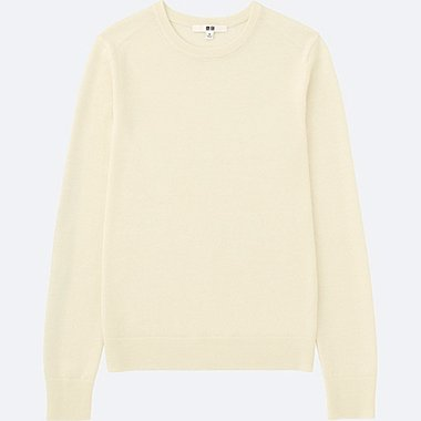 WOMEN EXTRA FINE MERINO CREWNECK SWEATER, OFF WHITE, medium