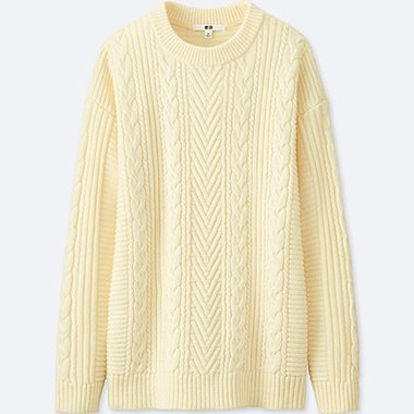 WOMEN CABLE LONG SWEATER, OFF WHITE, medium