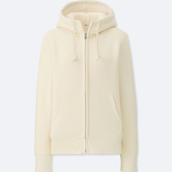 WOMEN PILE-LINED SWEAT LONG-SLEEVE FULL-ZIP HOODIE, OFF WHITE, large