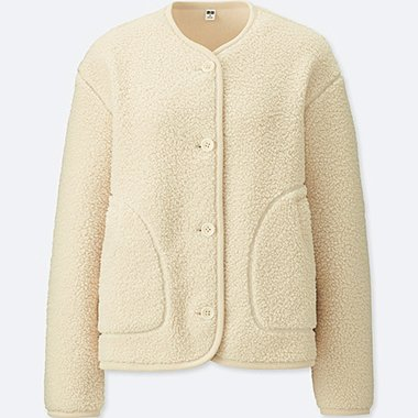 WOMEN FLEECE COLLARLESS JACKET, OFF WHITE, medium