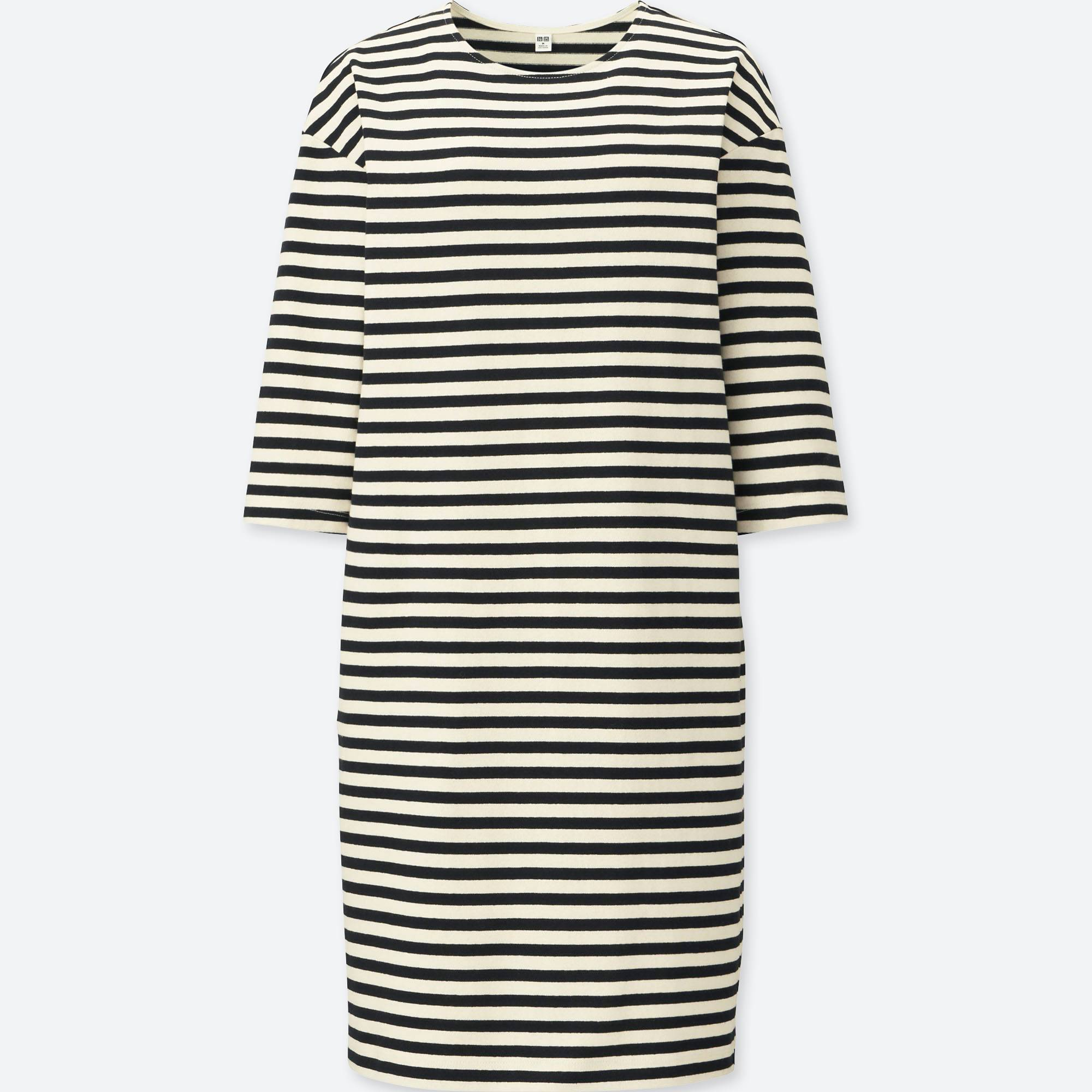 UNIQLO / Váy đầm & Jumpsuits women striped crewneck 3/4 sleeve dress