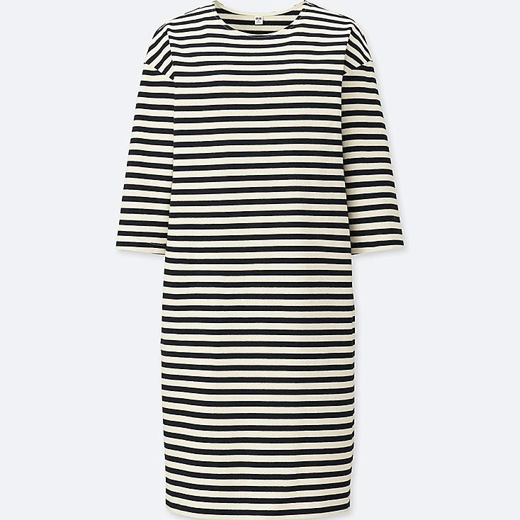 WOMEN STRIPED CREWNECK 3/4 SLEEVE DRESS | Tuggl