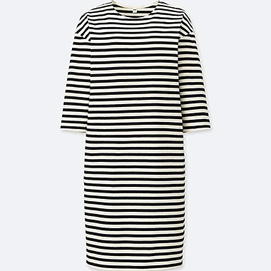 WOMEN STRIPED CREWNECK 3/4 SLEEVE DRESS, OFF WHITE, medium