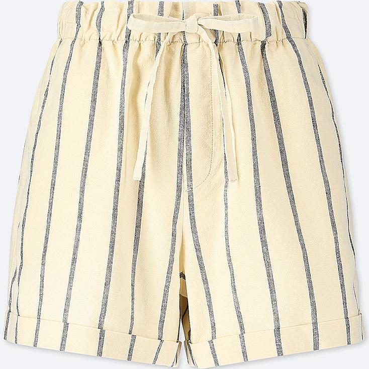 WOMEN COTTON LINEN RELAXED SHORTS, OFF WHITE, large