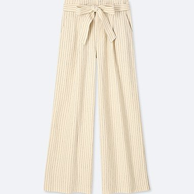 WOMEN BELTED LINEN COTTON WIDE PANTS, OFF WHITE, medium