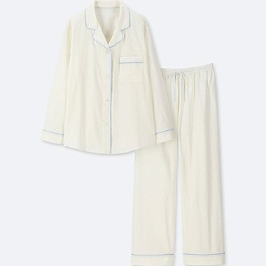 WOMEN COTTON LONG-SLEEVE PAJAMAS, OFF WHITE, medium