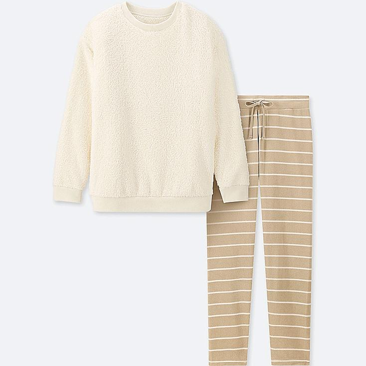 WOMEN LONG-SLEEVE STRIPED FLEECE SET, OFF WHITE, large