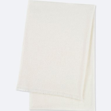 CASHMERE BIG STOLE, OFF WHITE, medium