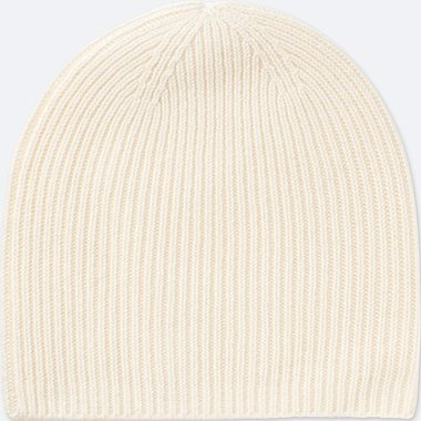 CASHMERE KNITTED BEANIE, OFF WHITE, medium