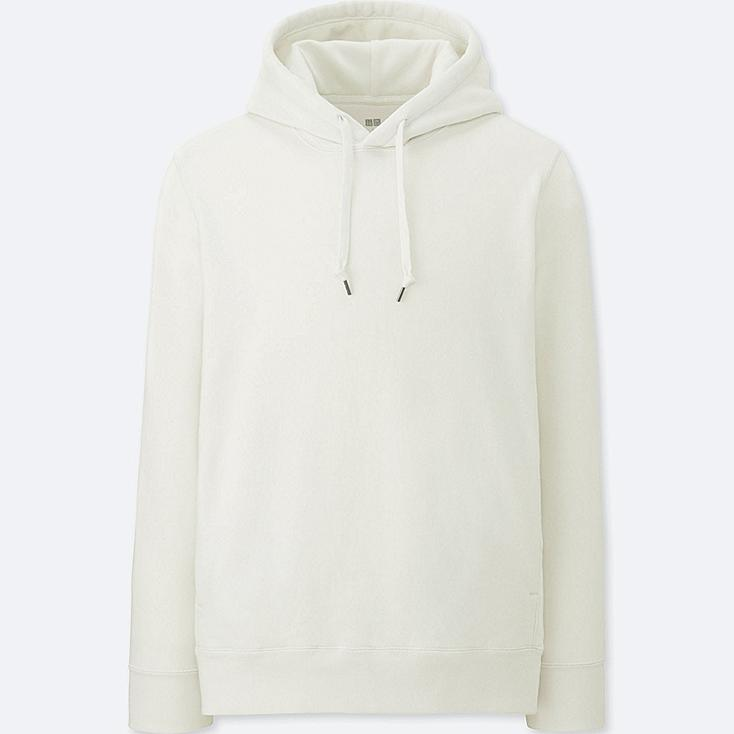 MEN LONG-SLEEVE HOODED SWEATSHIRT, OFF WHITE, large