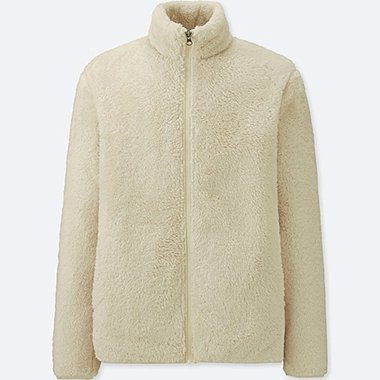 MEN FLUFFY YARN FLEECE FULL-ZIP JACKET, OFF WHITE, medium