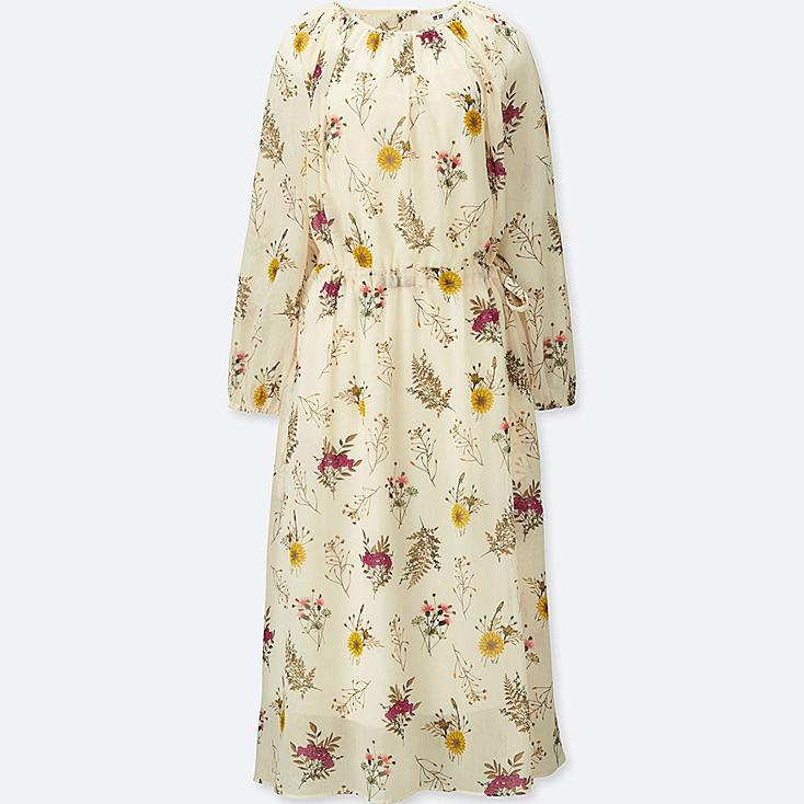WOMEN CHIFFON PRINTED LONG-SLEEVE DRESS | Tuggl