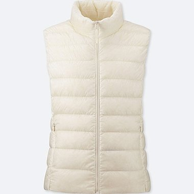 WOMEN ULTRA LIGHT DOWN VEST, OFF WHITE, medium