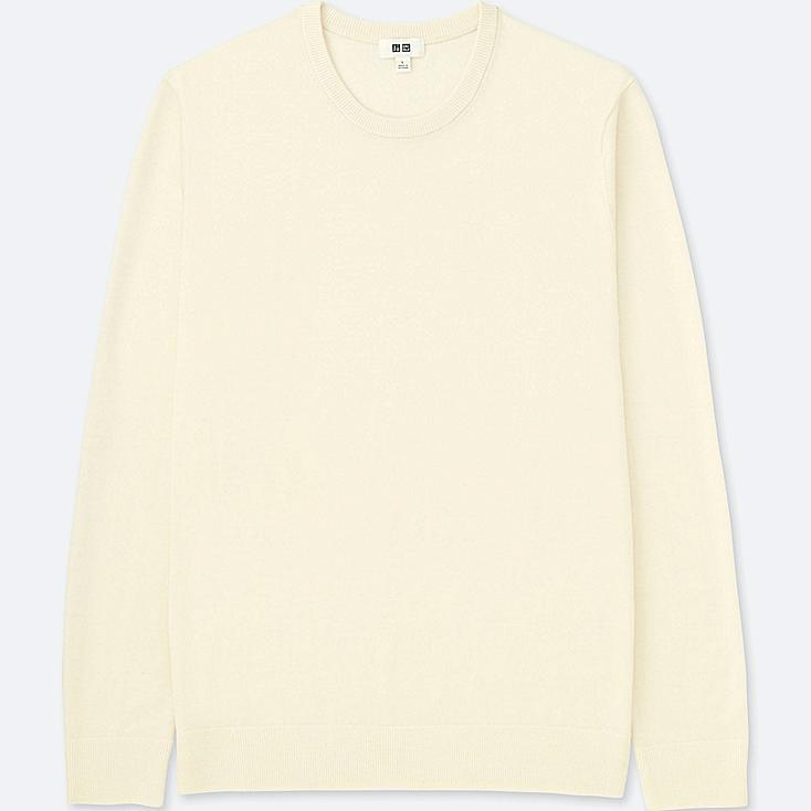 MEN EXTRA FINE MERINO CREW NECK LONG-SLEEVE SWEATER, OFF WHITE, large