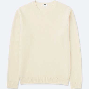 MEN PREMIUM LAMBSWOOL CREW NECK LONG-SLEEVE SWEATER, OFF WHITE, medium