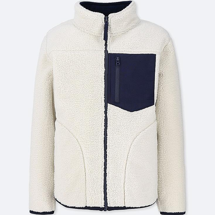 BOYS WINDPROOF FLEECE JACKET, OFF WHITE, large