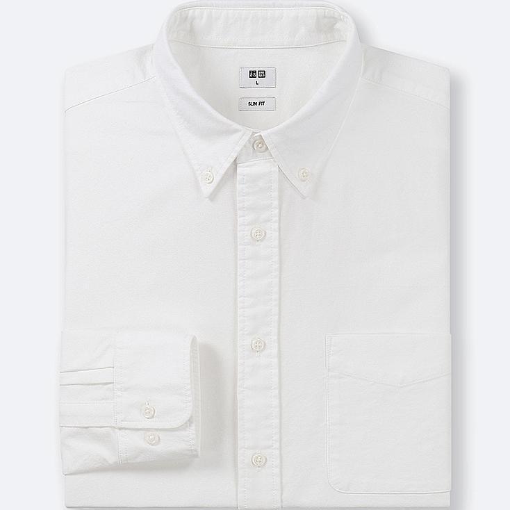 Men Slim Fit Oxford Shirt Button Down Collar Uniqlo Uk