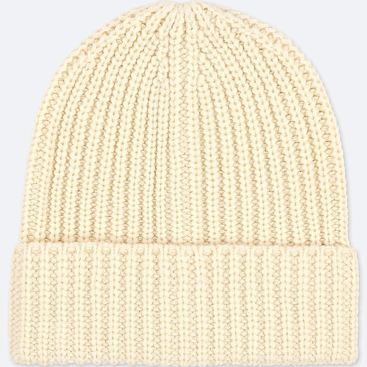 HEATTECH KNITTED CAP, OFF WHITE, large